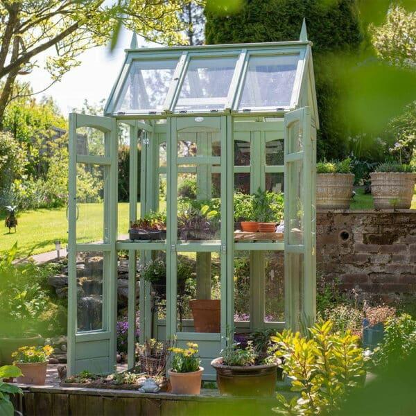 Thorndown-Sedge-Green-Wood-Paint-on-Forest-Walkaround-Greenhouse