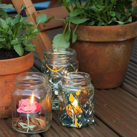 TD Peelable Glass Paint tea light jam jars