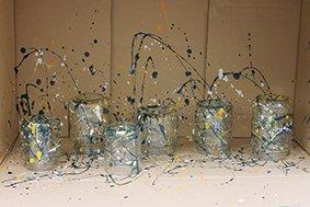 Jam Jars Glass Paint splatter box