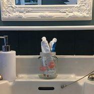 Jam jar tooth brush holde
