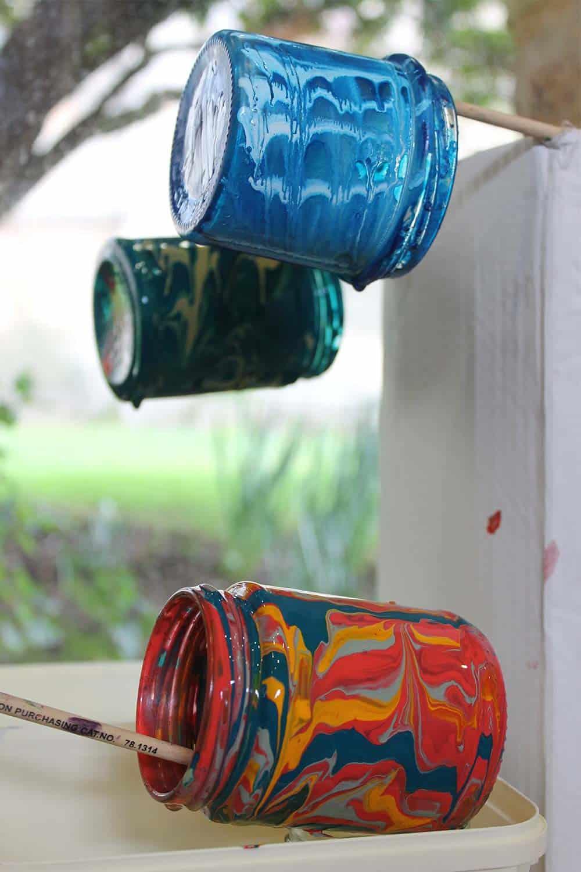 Marbling-drying-on-jam-jars