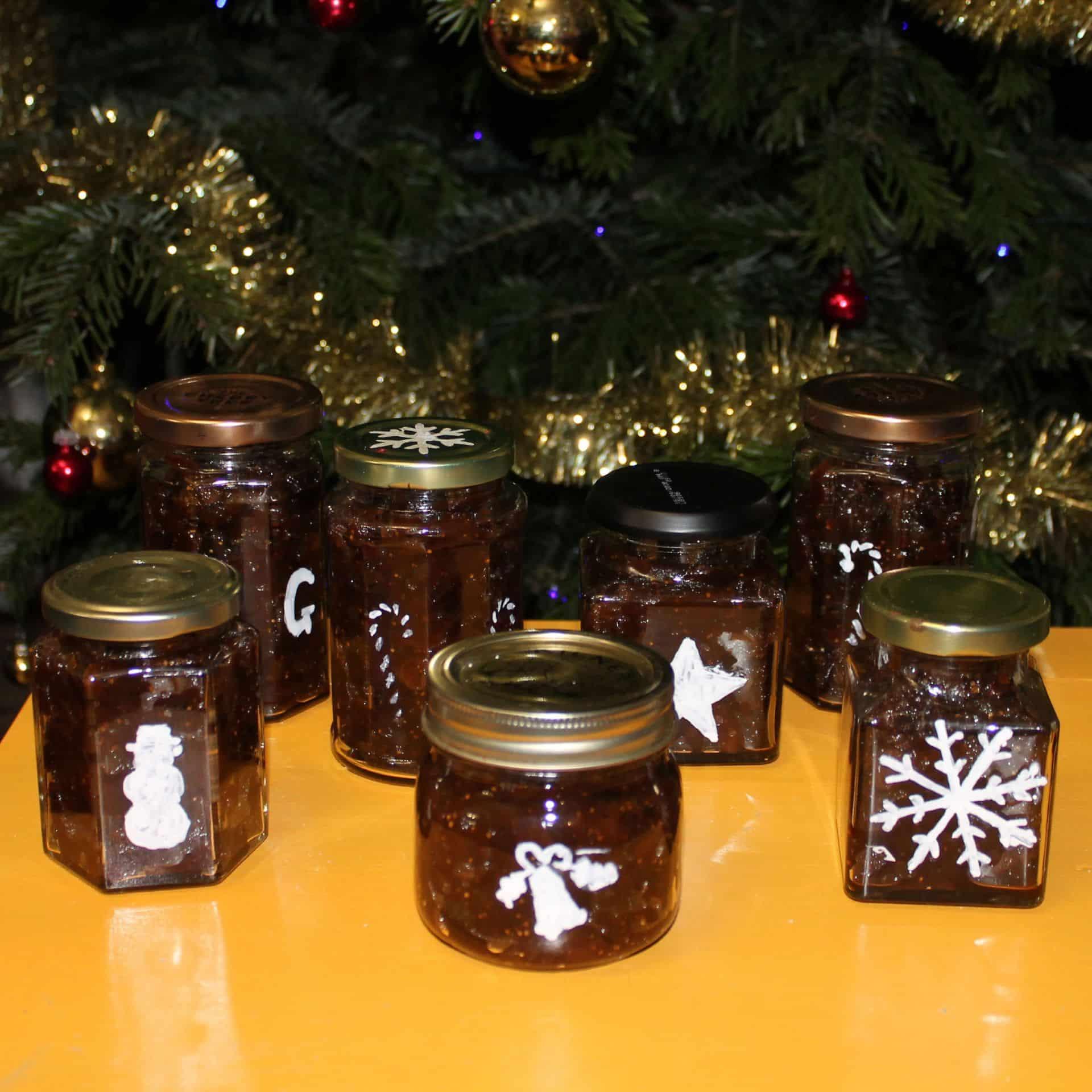 Peelable Glass Paint stencils on chutney glass jars