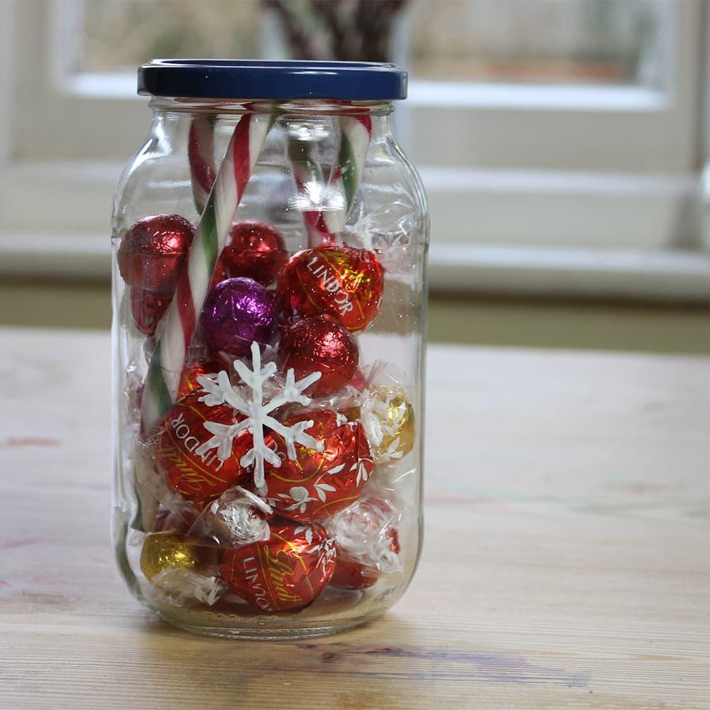 Peelable Glass Paint stencils on chocolate jar