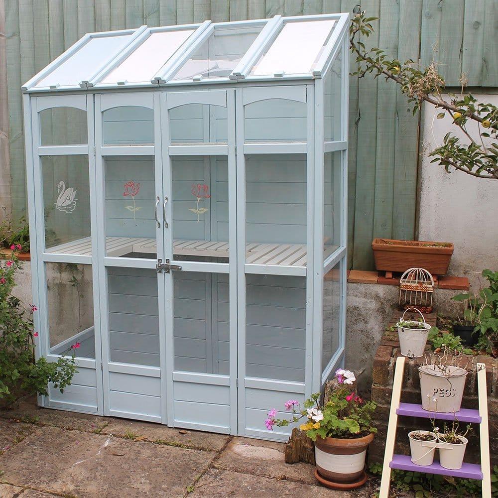 Greenhouse-Skylark-Blue-Glass-and-Wood-Paint
