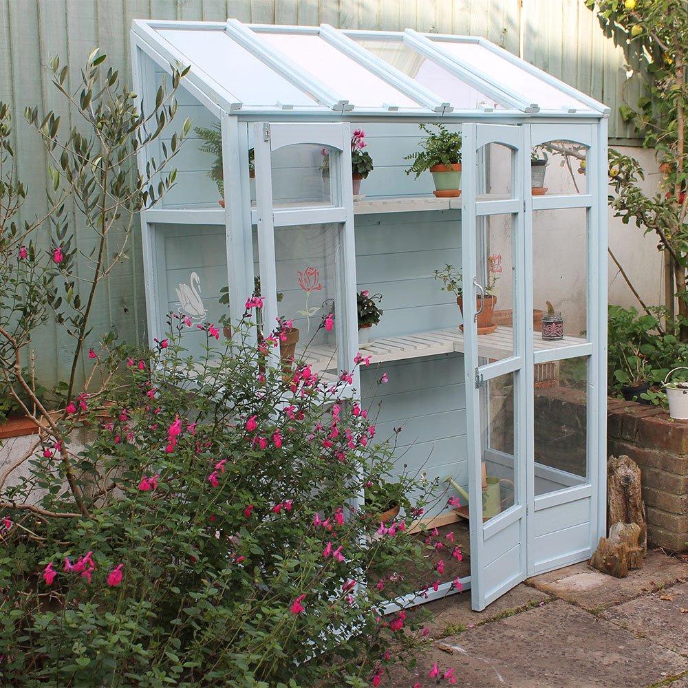 Skylark-Blue-Wood-and-Glas-Paint-greenhouse-