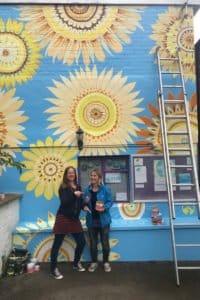 Caroline-Thornborough-with-Faye-Suzannah-Sunflowers-Mural