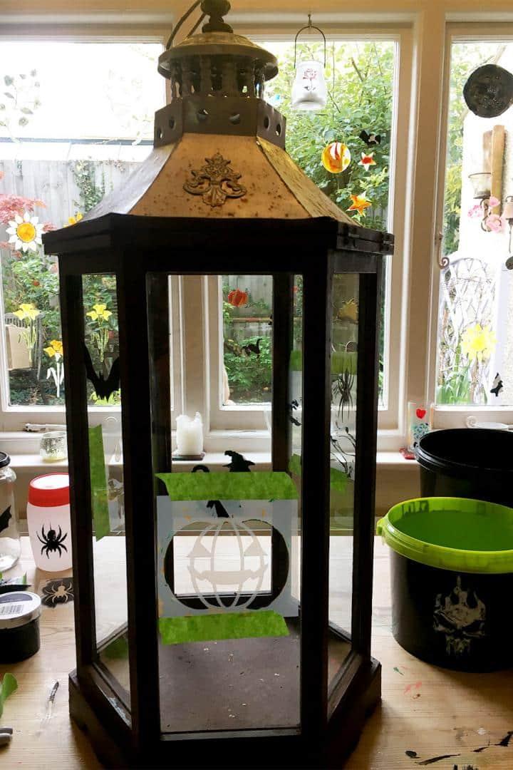 Halloween-stencils-on-glass-lantern