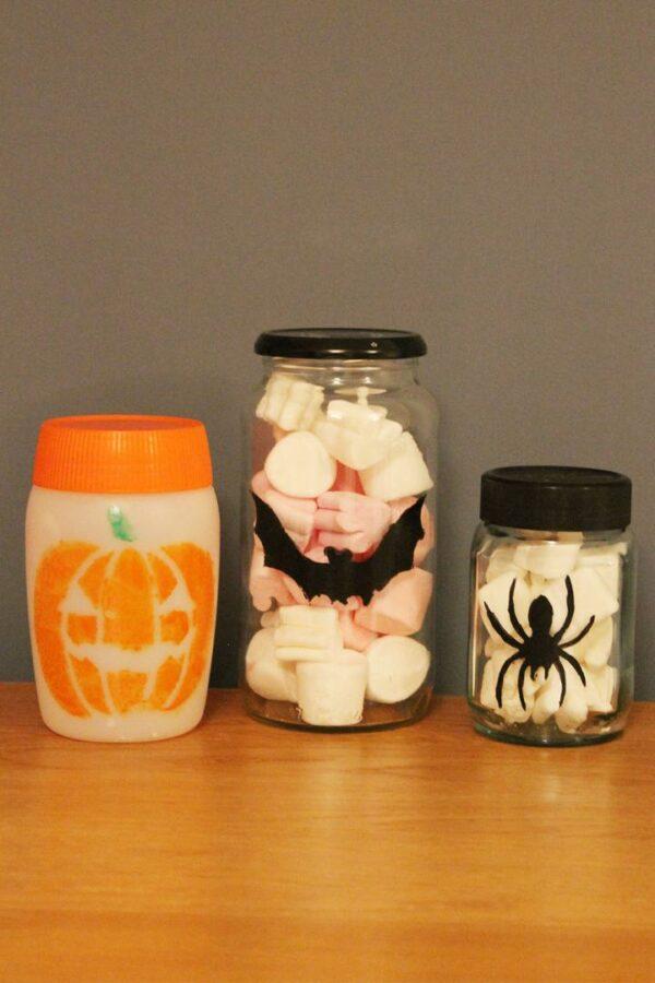 Thorndowns-Peelable-Glass-Paint-Halloween-stencil-designs-on-jars