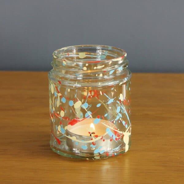 Thorndown-Peelable-Glass-Paint-Summer-Floral-splatter-tea-light-jam-jar