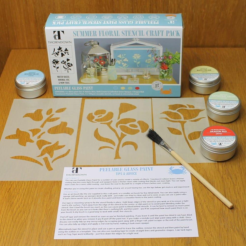Thorndown-Summer-Floral-Stencil-Craft-Pack-contents