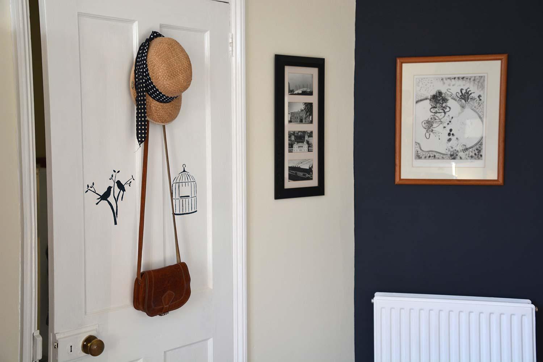 Thorndown-Swan-White-door-with-Bishop-Blue-wood-paint-stencilling