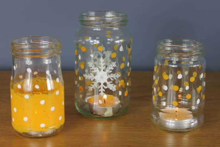 Christmas-tea-light-jars-painted-with-Thorndown-Peelable-Glass-Paint