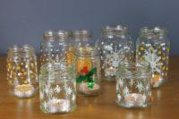 Festive-tea-light-jam-jars-painted-with-Thorndown-Peelable-Glass-Paint