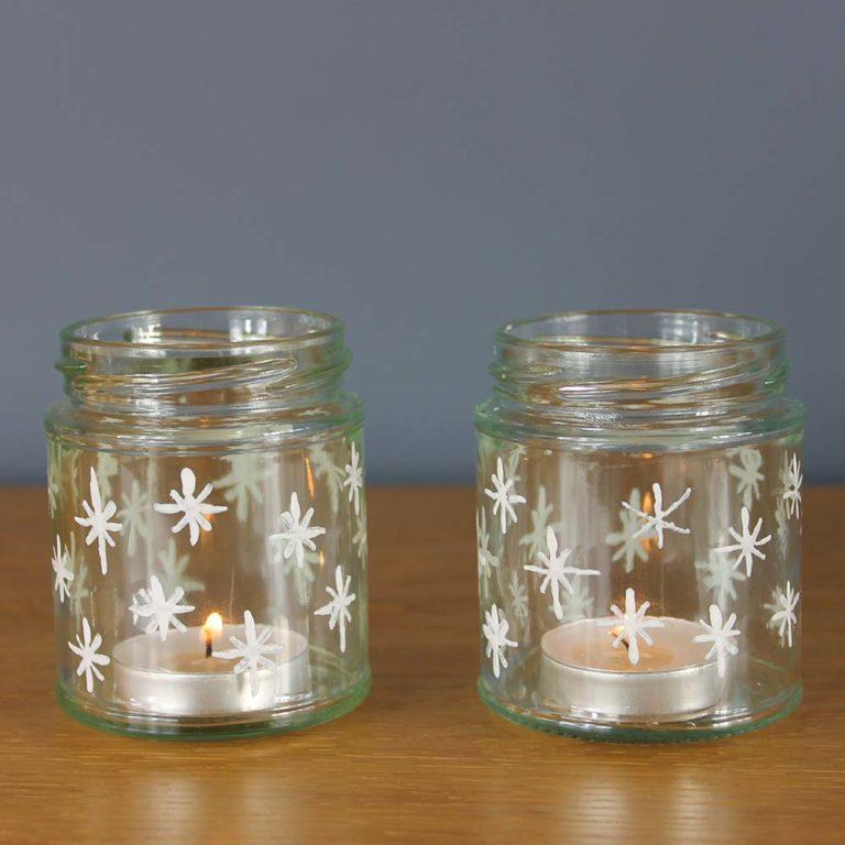 Snowflake-tea-light-jars-painted-with-Thorndown-Peelable-Glass-Paint