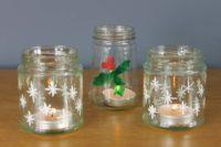 Tea-light-jam-jars-painted-with-Thorndown-Peelable-Glass-Paint