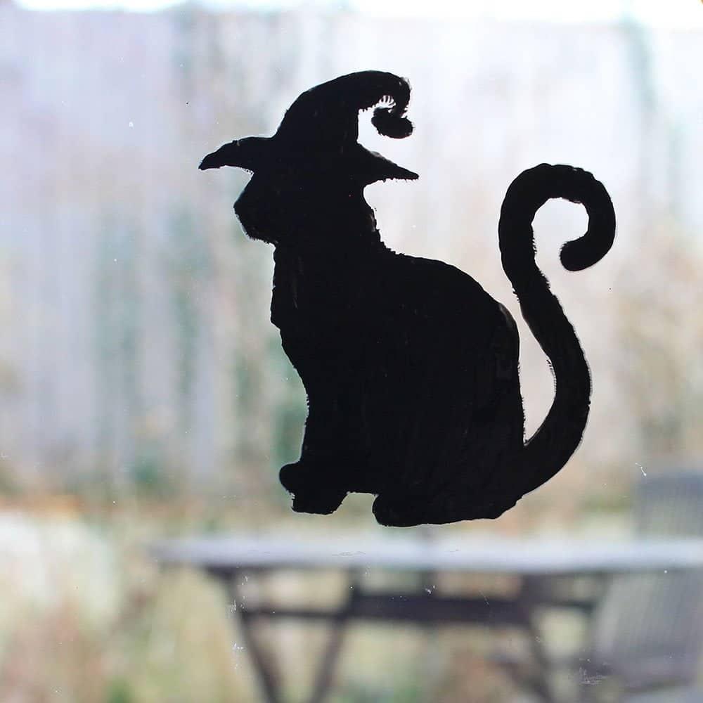Thorndown-Peelable Glass Paint-Halloween-Black-Cat-Stencil