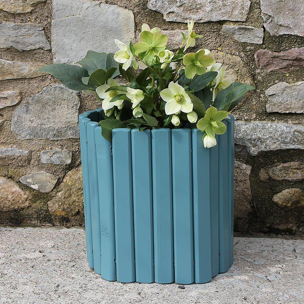 Thorndown-Brue-Blue-Wood-Paint-on-log-plant-holder