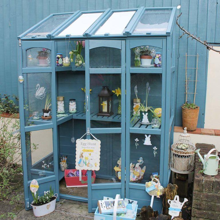 Thorndown-Launcherley-Blue-Wood-Paint-on-Greenhouse