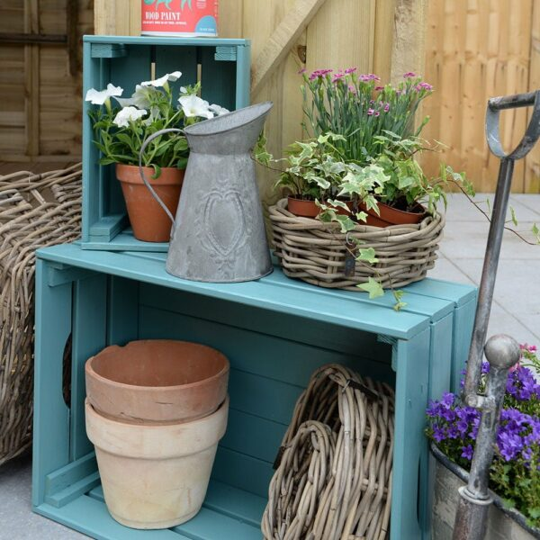 Thorndown-Slade-Green-Wood-Paint-on-timber-crates
