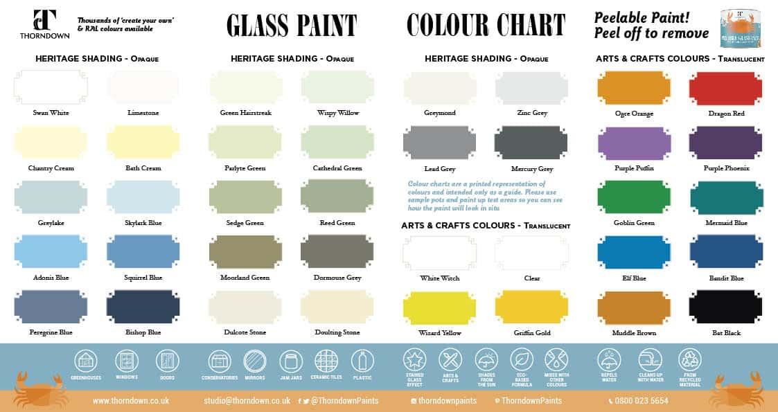 Thorndown Peelable Glass Paint Colour Chart 2021