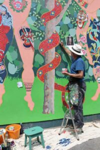 Frank-Harwood-painting-Adam-and-Eve-mural-with-Thorndown-Wood-Paint